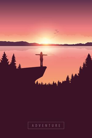 girl on a cliff adventure in nature by the lake with mountain view vector illustration