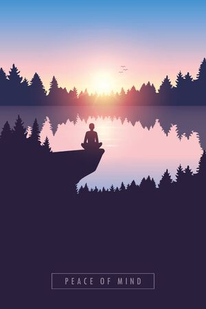 peace of mind person by the lake at sunrise in nature vector illustration