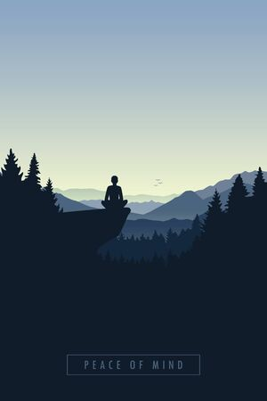peace of mind mediating person in a forest on a cliff vector illustration
