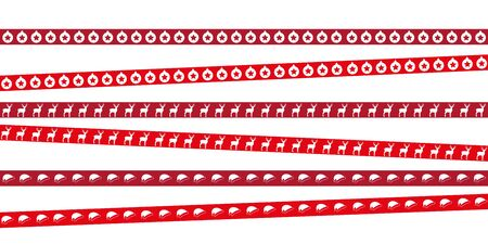 red christmas tape with star deer and cap pattern vector illustration
