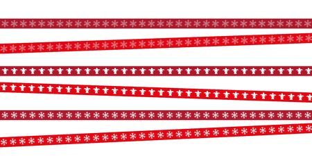 red christmas tape with snowflake and angel pattern vector illustration