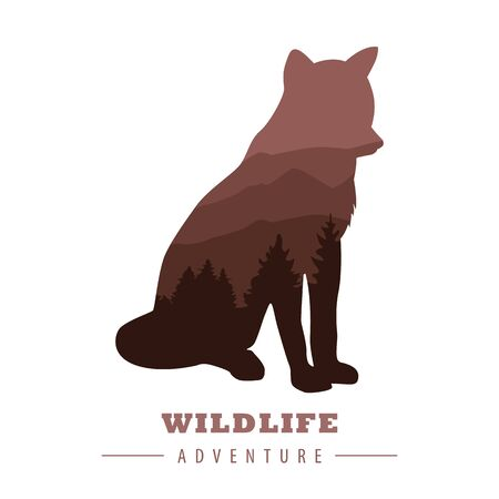 wildlife adventure wolf silhouette with forest landscape vector illustration Imagens - 134512383