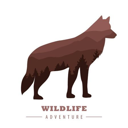 wildlife adventure wolf silhouette with forest landscape vector illustration Imagens - 134512384