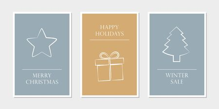 set of christmas greeting cards with star gift and tree vector illustration