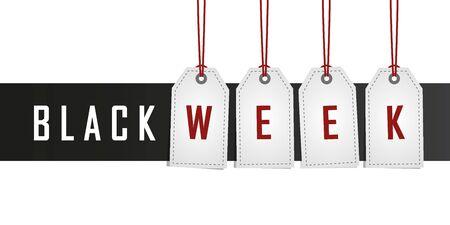 black week promotion hanging label vector illustration