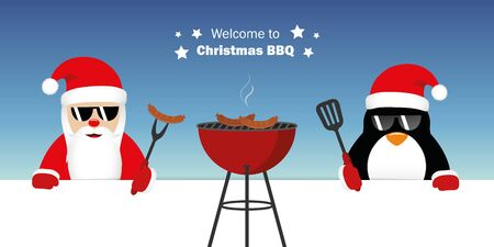 cute santa claus and penguin with sunglasses at christmas bbq vector illustration