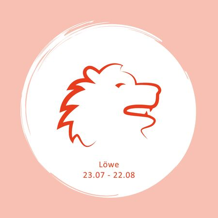 zodiac sign lion horoscope with description and date vector illustration  イラスト・ベクター素材