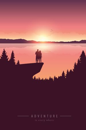 couple on a cliff adventure in nature by the lake with mountain view vector illustration