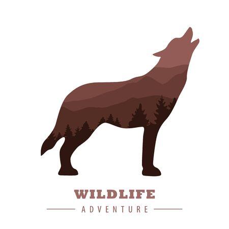 wildlife adventure wolf silhouette with forest landscape vector illustration Ilustração