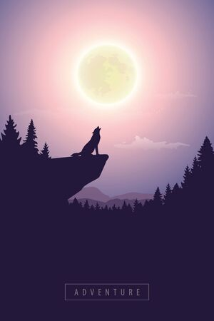 wolf on a cliff howls at full moon mystic nature landscape vector illustration