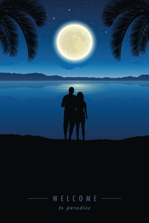 loving couple enjoy the full moon under palm tree vector illustration