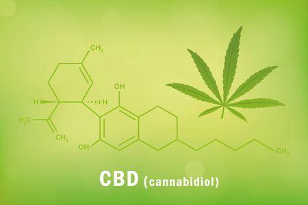 cbd cannabidiol chemical formula with cannabis leaf vector illustration Illustration