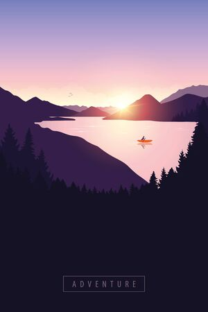 lonely canoeing adventure with orange boat at sunrise on the river vector illustration