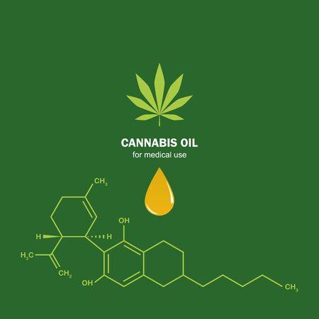cbd oil cannabidiol chemical formula with cannabis leaf vector illustration Illustration