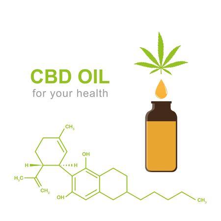cbd oil cannabidiol chemical formula with cannabis leaf and oil drop vector illustration Illustration