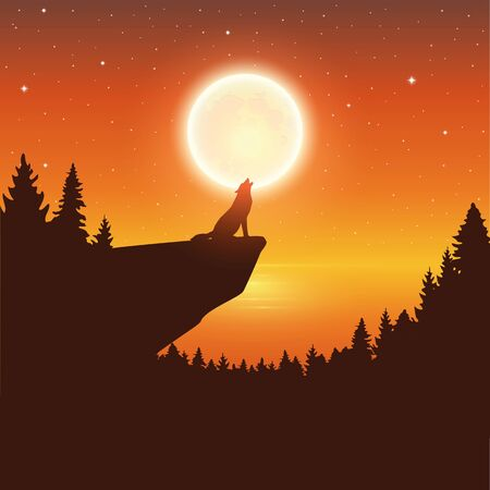 wolf howls to the full moon in a starry night by lake vector illustration
