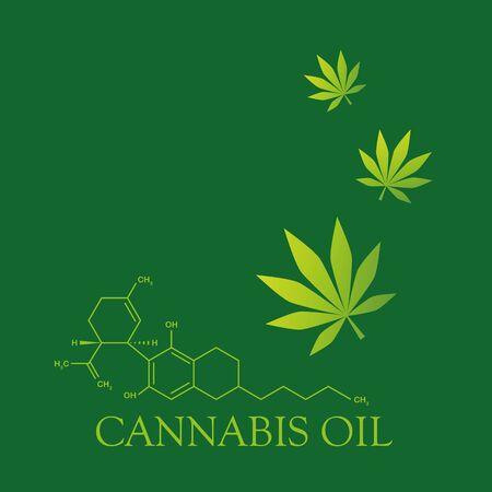 cbd oil cannabidiol chemical formula with cannabis leaf vector illustration Vetores
