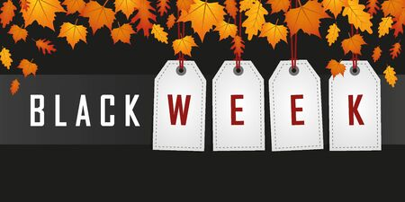 black week promotion hanging label with autumn leaves vector illustration Stock Illustratie