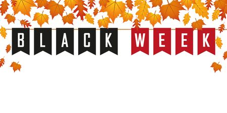 black week flags banner on white background with autumn leaves vector illustration