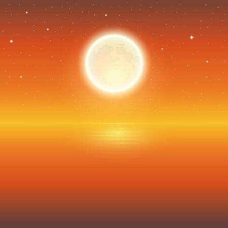 full moon and starry sky by the ocean background vector illustration