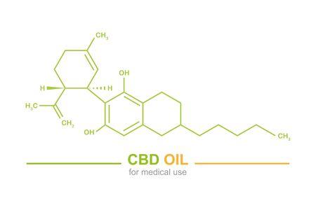 cbd oil for medical use cannabidiol chemical formula vector