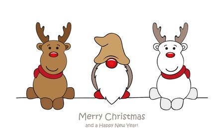 merry christmas greeting card with cute dwarf and deer vector illustration EPS10