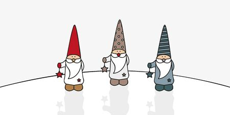 three cute christmas gnomes with star vector illustration EPS10