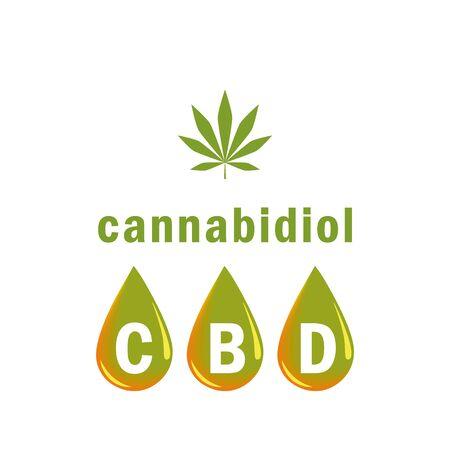 cbd oil cannabidiol drop and cannabis leaf vector illustration EPS10