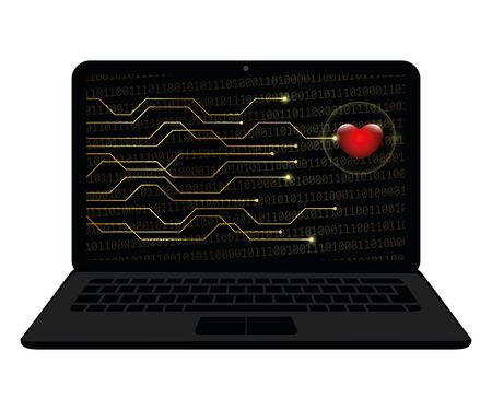 heart in a screen of a laptop online dating concept isolated on a white background vector illustration EPS10