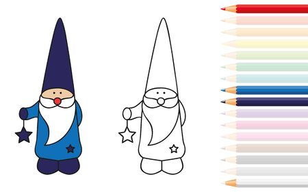 cute dwarf for coloring book with pencils vector illustration EPS10