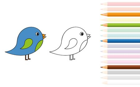 cute little bird for coloring book with pencils vector illustration EPS10 Standard-Bild - 134754651