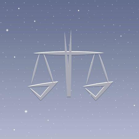 zodiac sign libra horoscope in starry sky vector illustration