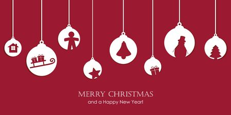 christmas card with tree balls decoration vector illustration EPS10