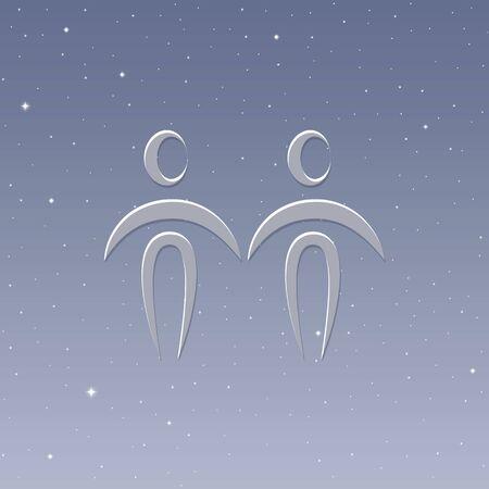 zodiac sign gemini horoscope in starry sky vector illustration Reklamní fotografie - 136421929