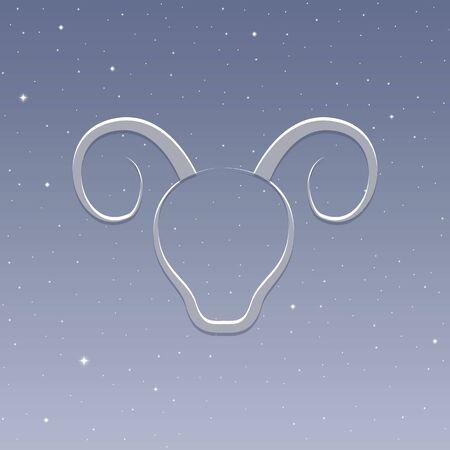 zodiac sign aries horoscope in starry sky vector illustration