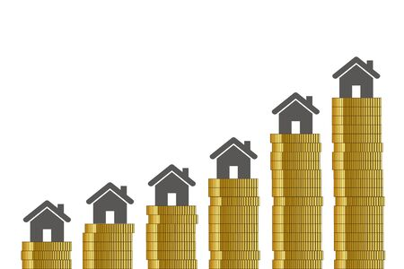 high property prices golden coins on white background vector illustration EPS10