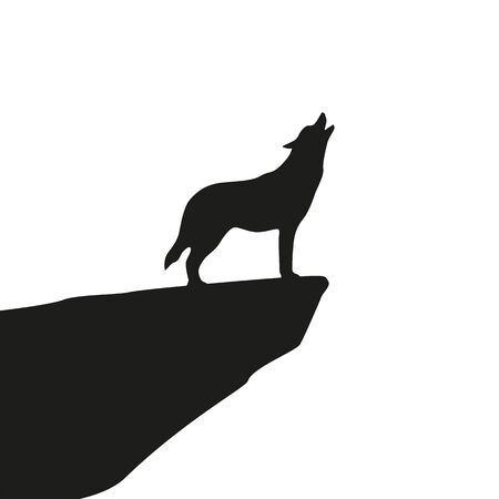 howling wolf silhouette on white background vector illustration EPS10 Ilustracja