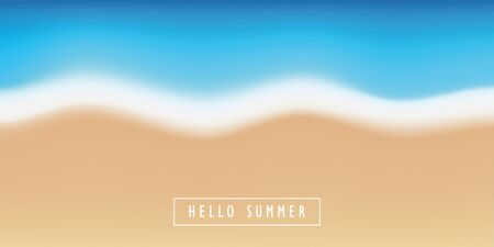 hello summer sandy beach and turquoise sea background vector illustration
