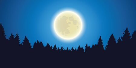 moon shine forest landscape by night vector illustration EPS10