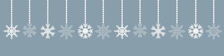 white hanging snowflake christmas decoration on blue background vector illustration EPS10 Ilustracja
