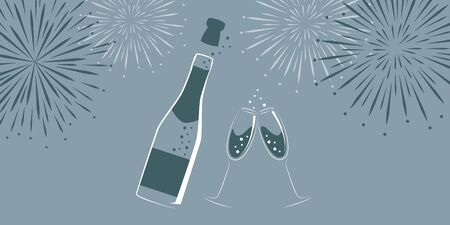 champagne bottle and glasses with new year fireworks vector illustration EPS10 Ilustracja