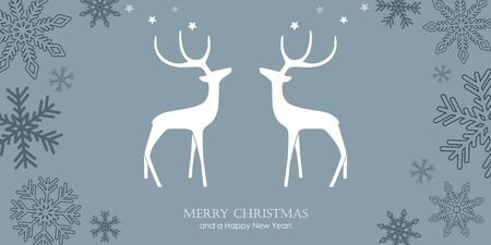 christmas greeting card with reindeers and snowflake border vector illustration EPS10