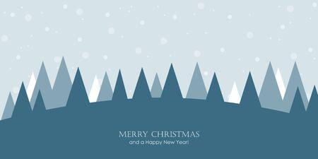 christmas greeting card snowy winter landscape vector illustration