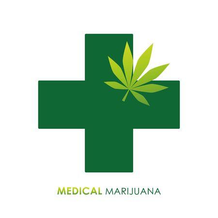 medical marijuana green icon isolated on white background vector illustration