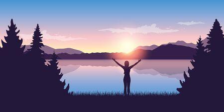 Fille aux bras levés au bord du lac au lever du soleil nature paysage vector illustration EPS10 Vecteurs