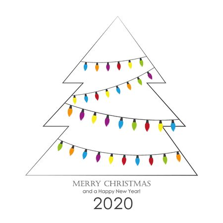 christmas tree with colorful fairy lights greeting card vector illustration EPS10