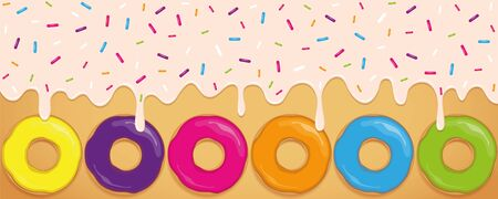 crazy sweet melting icing with colorful sprinkles and donuts vector illustration Ilustracja