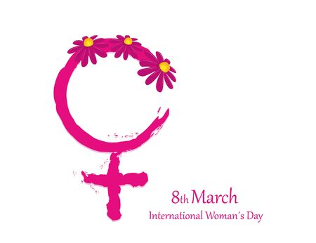 pink female symbol with flower for womens day vector illustration EPS10 Ilustracja