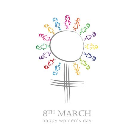 8th march international womens day symbol with colorful women vector illustration