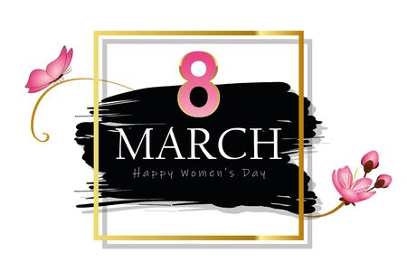 8th march international womens day black and gold card with butterfly and cherry blossom vector illustration EPS10